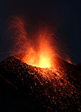 Strombolian. Eruption at volcano Stromboli in Italy Royalty Free Stock Images