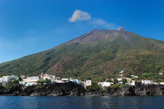 Strombolis volcan town Stock Photos