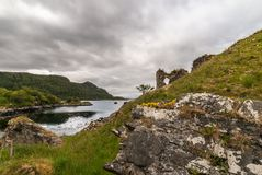 Window of Castle Strome with Loch Carron, Scotland. Royalty Free Stock Photo