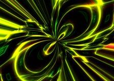 Stromen van energie op een zwarte achtergrond Stock Afbeelding