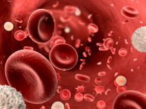 Stromend bloed met platletes en leukocyten Royalty-vrije Stock Foto's