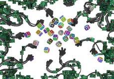 Stromkreise verdrahtete Arme Toy Cubes Lizenzfreie Stockbilder