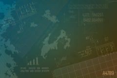 Stromkreiskessel auf grünem Hintergrund Technisches Projekt Steamshop Stockfoto