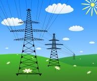 Stromleitung auf einem grünen Feld Lizenzfreies Stockbild