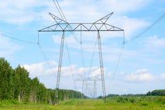 Stromleitung in einem Wald Lizenzfreie Stockbilder