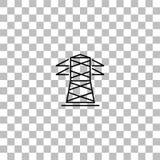 Stromleitung Ikone flach stock abbildung