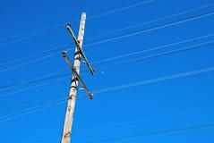 Stromleitung Pole und halber Mond Lizenzfreies Stockfoto
