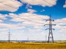 Stromleitungen auf dem Gebiet Stockbild