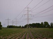 Strommaste an der Dämmerung Stockfotografie