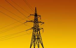 Strommasten und -linie Stockfotos