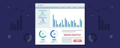 Stron internetowych analityka wystawia na desce rozdzielczej, dane analiza, marketing, biznesowy pomiar Płaski projekta wektoru s ilustracji