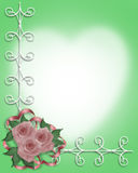 strona graniczny różowe róże poślubić Fotografia Stock