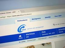 Strona internetowa Holenderska ubezpieczenie społeczne agencja UWV zatrudnieniowy biuro i zdjęcie royalty free