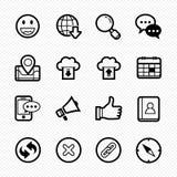 Strona internetowa i wiszących ozdób kreskowe ikony na białym tle - Wektorowa ilustracja Obrazy Royalty Free