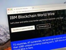 Strona internetowa IBM Blockchain światu drut fotografia stock