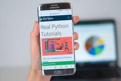 Strona internetowa Istna pyton firma na telefonu ekranie obraz royalty free