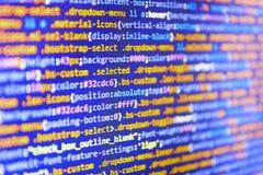Strona internetowa kody Na Komputerowym monitorze Cyfrowanie hackera pojęcie Komputerowego pisma pisać na maszynie praca zdjęcia stock