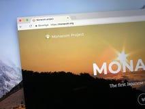 Strona internetowa MonaCoin zdjęcie stock