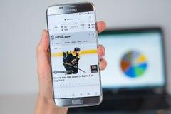 Strona internetowa NHL na telefonu ekranie zdjęcie stock