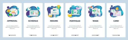 Strona internetowa onboarding ekrany Biznesowy zadania zarządzanie, CV i portfolio, dostęp karta Menu sztandaru wektorowy szablon ilustracja wektor