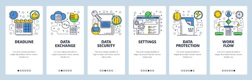 Strona internetowa onboarding ekrany Dane wymiana, synchronizacja i ochrona, Menu sztandaru wektorowy szablon dla strony internet royalty ilustracja