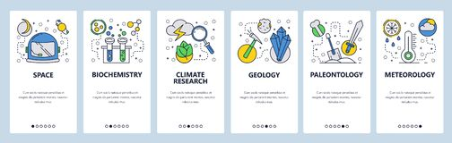 Strona internetowa onboarding ekrany Nauka i eksploracja przestrzeni kosmicznej Chemia, pogoda, geologia, meteorologia Menu wekto ilustracji