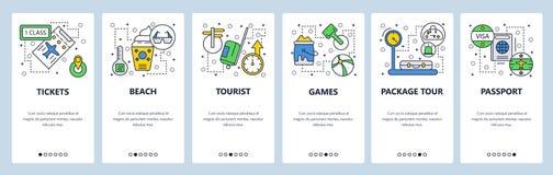 Strona internetowa onboarding ekrany Podróżuje wakacje i wyrzucać na brzeg, paszport, wiza, bilety Menu sztandaru wektorowy szabl ilustracji
