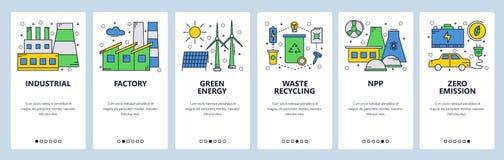 Strona internetowa onboarding ekrany Zieleń i energia odnawialna Elektrownia i zero emisji Menu sztandaru wektorowy szablon royalty ilustracja