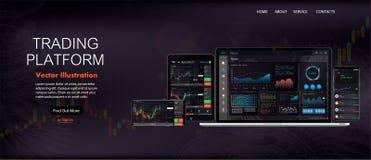 Strona Internetowa Parawanowy szablon Rynków walutowych rynek, wiadomość i analiza, ilustracji