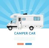 Strona internetowa projekt z obozowicza samochodem dostawczym ilustracja wektor