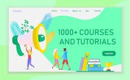 Strona internetowa projekta szablony dla językowych kursów ilustracja wektor