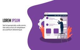Strona internetowa projekta szablony wektorowy ilustracyjny pojęcie dla strony internetowej i wiszącej ozdoby strony internetowej royalty ilustracja
