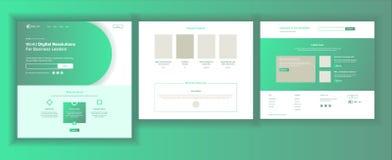 Strona Internetowa projekta wektor Strona internetowa biznesu ekran Ruch W Internecie Desantowy szablon Korporacyjna dywidenda Cy ilustracji