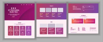 Strona Internetowa projekta wektor Strona internetowa biznesu styl Początkowy miejsca plan Desantowy szablon Korzyść plan Interfe Obraz Stock