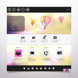 Strona internetowa szablonu /with gorącego powietrza Wektorowy balon w rocznika bokeh nieba illustration/ ilustracji