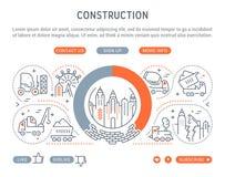 Strona internetowa sztandar i lądowanie strona budowa royalty ilustracja