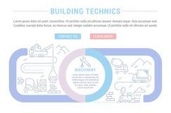 Strona internetowa sztandar i lądowanie strona budynków Technics ilustracja wektor