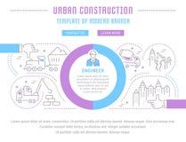 Strona internetowa sztandar i lądowanie strona Miastowa budowa ilustracja wektor
