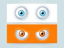 Strona internetowa sztandar z strasznymi oczami lub chodnikowiec Zdjęcie Royalty Free