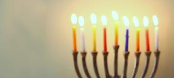 Strona internetowa sztandaru wizerunek żydowski wakacyjny Hanukkah z menorah (tradycyjni kandelabry) Zdjęcia Stock