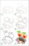 Strona pokazuje dlaczego uczyć się rysować jeża krok po kroku Obraz Stock