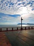 strona tafluje beach zespołu drewnianego Zdjęcia Royalty Free