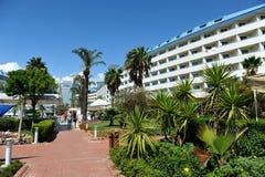 Strona Turcja, Kwiecień, - 16, 2014: Luksusowi 5 kurort w stronie gwiazdowy hotelowy Krystaliczny Admiral jest popularny turystyc Obraz Royalty Free
