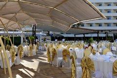 Strona Turcja, Kwiecień, - 16, 2014: Luksusowi 5 kurort w stronie gwiazdowy hotelowy Krystaliczny Admiral jest popularny turystyc Zdjęcie Stock