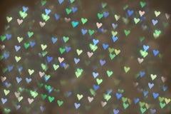 Strona w postaci serc Mali symbole miłości serca bokeh zdjęcia stock