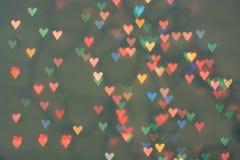 Strona w postaci serc Mali symbole miłości serca bokeh fotografia stock