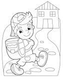 Strona z ćwiczeniami dla dzieciaków ilustracja dla dzieci - kolorystyki książka - Zdjęcie Stock