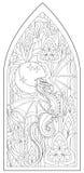 Strona z czarny i biały rysunkiem piękny średniowieczny Gocki okno z witrażem i smok dla barwić Obraz Royalty Free