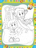 Strona z ćwiczeniami dla dzieciaków uzupełniał - ilustrację dla dzieci - kolorystyki książka - Obrazy Stock