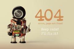 Strona znajdujący szablon dla strony internetowej Robota zabawkarski repairman z śrubokrętem i 404 błędów ostrzegawczej wiadomośc fotografia royalty free